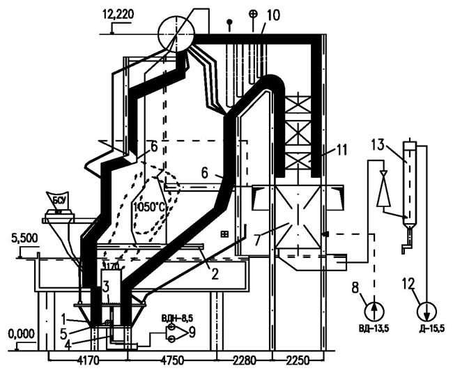 Рис.4. Схема топки с низкотемпературным кипящим слоем с вертикальным вихрем: 1 - воздухоразделительная решетка; 2...
