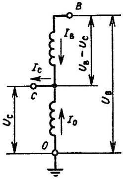 Схема однофазного автотрансформатора
