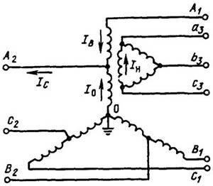 Схема трехфазного трехобмоточного автотрансформатора